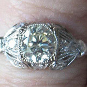 Vintage multi  Diamond engagement ring made of 18k white gold with appraisal Center diamond 1.01 carat