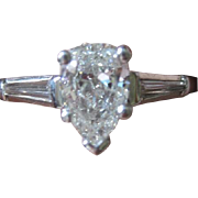 Marvelous Pear shaped Vintage DIAMOND 1.12tw Platinum engagement RING with appraisal and gift box