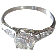 Appraised vintage Platinum and Diamond engagement ring in gift giving box