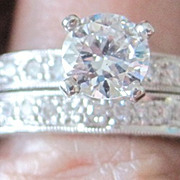 Vintage Wedding Set Platinum and Diamonds G-H color VS clarity ETERNITY band