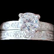Vintage Wedding Set Platinum and Diamonds G-H color VS clarity ETERNITY band