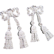 Flexible White Gold BOW shaped Diamond earrings with puffy dangle tassel ends Made in Italy