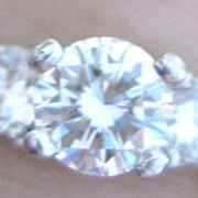 Vintage Platinum and three brilliant diamond engagement ring
