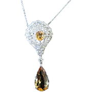 Art Deco Ladies 18k white gold citrine and diamond pendant with gift box and appraisal