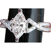 Vintage PLATINUM and Marquise shaped DIAMOND Engagement RING