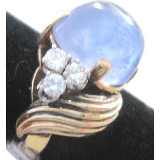 Retro 14k yellow gold blue star sapphire ring 13,95 ct with wave sides with six  0.50tw diamonds VS1 G-H