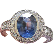 Beautiful vintage 14kwg RING 2.30 carat natural Oval Sapphire 0.75 carats Diamonds VS G-H with appraisal