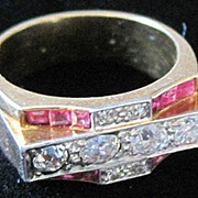 Ladies RETRO 14kyg architectural Ruby and Diamond ring