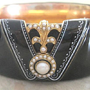 Exceptional Victorian heavy black enamel mourning bangle with 14kyg interior
