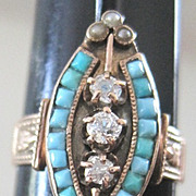 Victorian 14k rose gold ring set with diamonds natural pearls and Persian turquoise