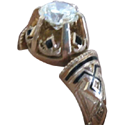 Vintage 14k ROSE GOLD and DIAMOND RING decorated with black enamel accents