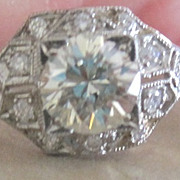 Vintage fine jewelry Platinum and Diamond engagement ring with appraisal and gift box
