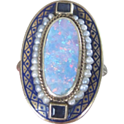 Art Deco period 14k yellow gold ring foiled opal seed bead and sapphires