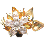 FLORAL bouquet rhinestone PIN with various shape size and colors