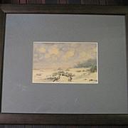 Beachy sand pencil & watercolor by listed artist Alexander Pehmoller custom framed