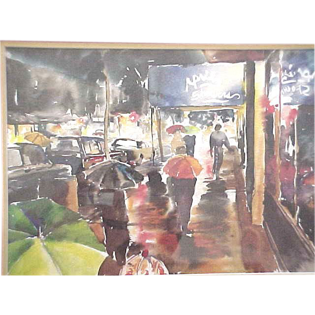 Watercolor Of A New York City City Street Scene In The