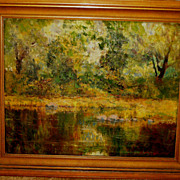 Listed artist Charles William Duvall oil on canvas river landscape