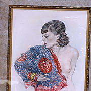 Art Deco semi nude woman signed lithograph by Edouard Chimot
