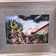 Hollyhocks plein air painting by James Hartman