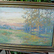 Unsigned Arts & Crafts Sunset oil on board forest painting