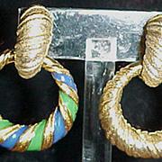 Joseph Mazer clip dangle hoop earrings 2 Pair in one