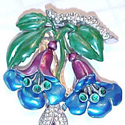 Vintage floral costume jewelry floral dress clip