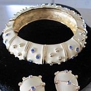 Costume jewelry set of enamel cuff bracelet & clip earrings