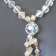 Vintage AB  strand Crystal tassel necklace & clip ears