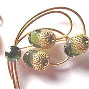 Lovely vintage green branch & floral pin and matching dangle clip earrings