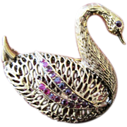 Vintage costume jewelry swan set with garnet stones