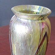 Bohemian Art Glass vase with Metal girdle Applied Cherries