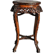 Hardwood Asian style Carved table with Marble center