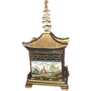 Asian Pagoda shaped Treasure box with handpainted scenics