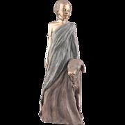 Quiet Warrior sculpture of an African beauty and her calf