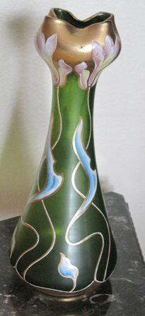 Opaque green glass vase with enamel flowers and gold trim