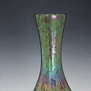 Bohemian Rindskopf iridescent art glass green bulbous vase