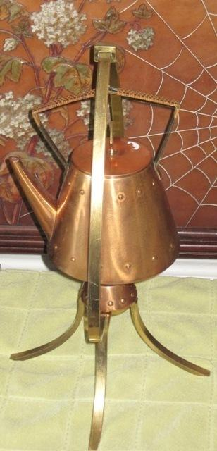 Jungendstil copper & brass WMF kettle stand & burner