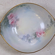 "9"" long and hand painted soft pink rose bowl C.1920"