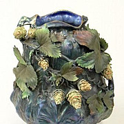 Ernst Wahliss Amphora iridescent vase with applied hops