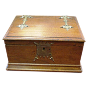 Oak Arts & Crafts wooden box with fancy brass trimmings