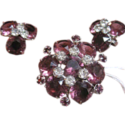 Kramer set of pink and purple rhinestone pin & earrings