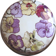 French Haviland Limoges handpainted pansy powder box
