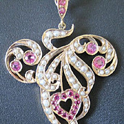 Art Nouveau pendant and chain of natural rubies and pearls