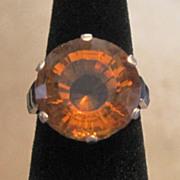 Platinum Art Deco Madera Citrine & sapphire ladies cocktail ring