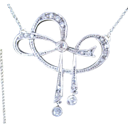 Platinum and diamond Art Deco stylized bow necklace