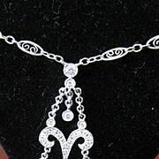 Vintage 14k White Gold dangle multi Diamond necklace