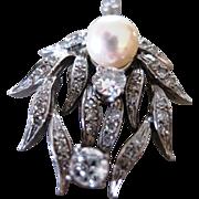 Ladies 14k white gold pearl diamond pendant necklace
