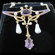 Art Nouveau 14kyg  AMETHYST & ENAMEL lavaliere necklace