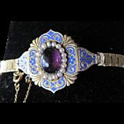 18k Georgian Enameled Bracelet Amethyst & Pearls