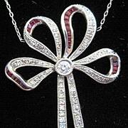 Vintage Fine Platinum and Diamond Bow shaped necklace